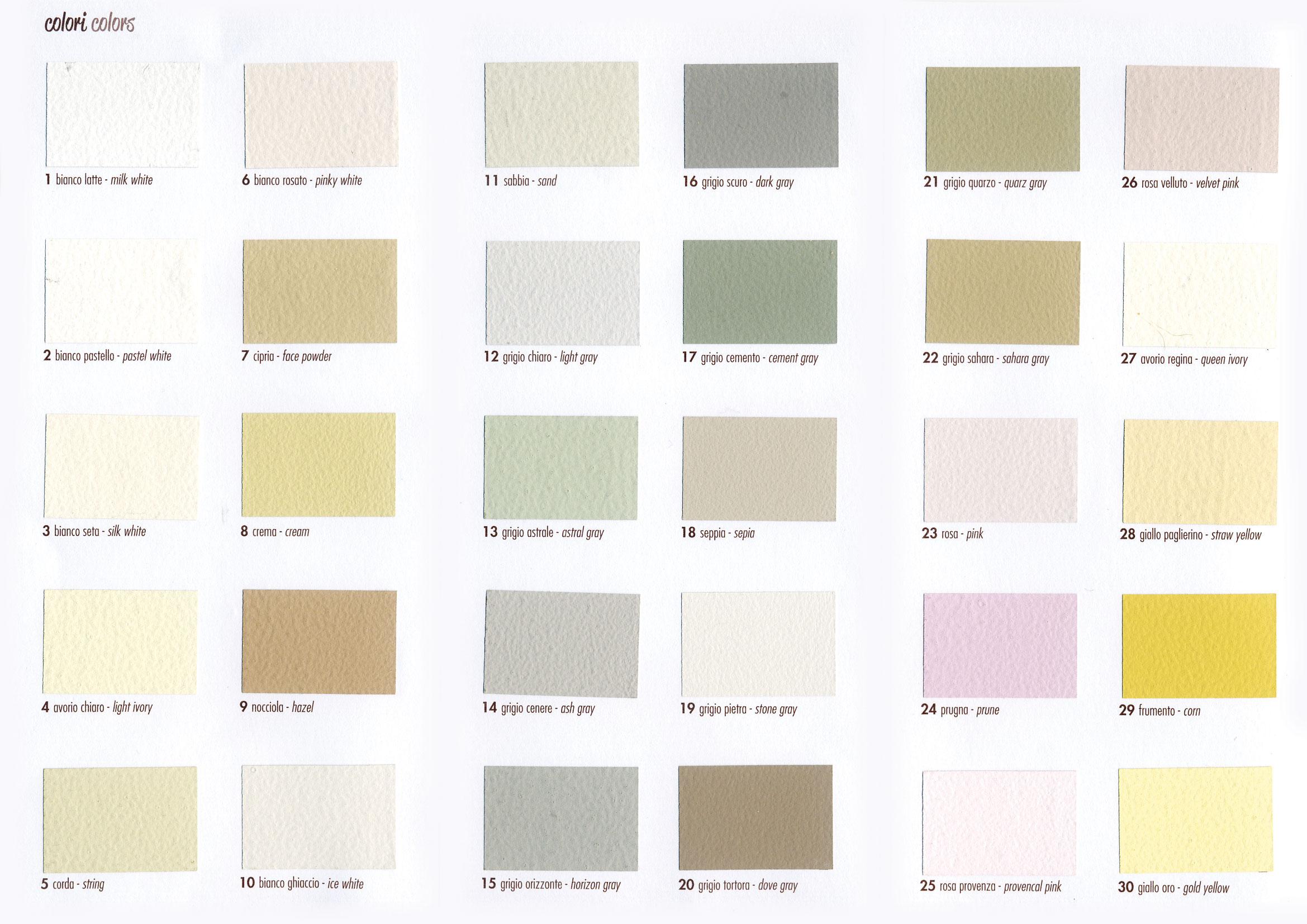 Cartella colori colors shabby chic colors for Gamma colori pareti